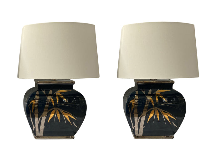Vintage Mid-Century Table Lamps with Metallic Bamboo (Pair)