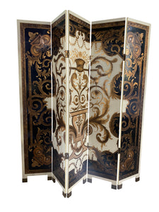 Italian Mid-Century Ornate 5-Panel Screen