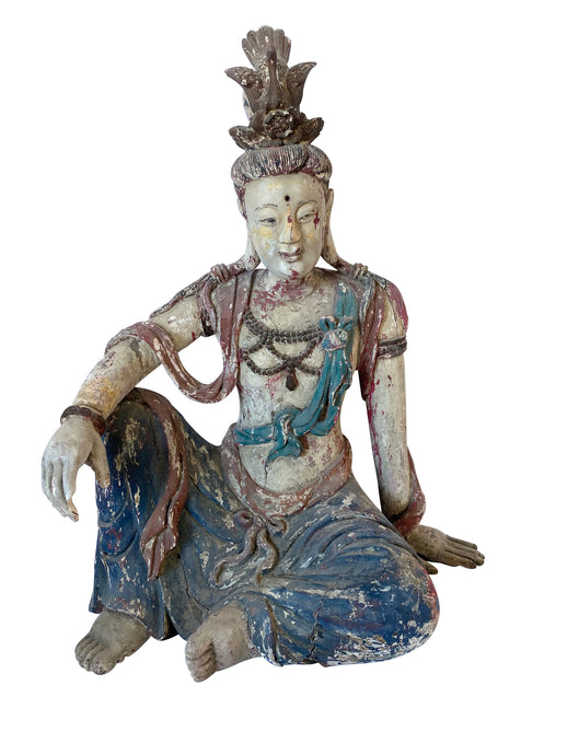 Early 20th Century Antique Guanyin Wooden Sculpture