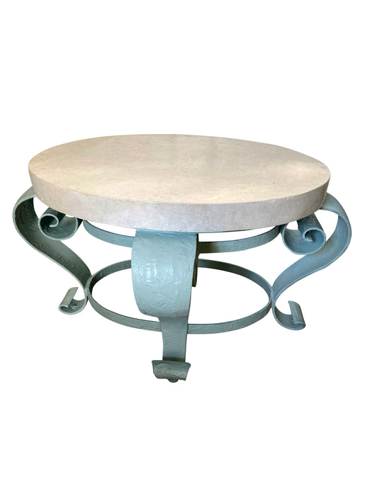 Vintage Oval Metal Accent Table with Stone Top