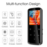 Mp3 Player,8GB Mp3 Player with Bluetooth,Built-in Speaker,Portable HiFi Lossless Sound Music Player with FM Radio Voice Recorder Touch Button with Screen Support up to 128GB(Black) - kayakmodify