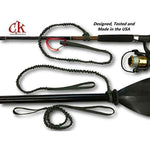 Kayak Paddle Leash with 2 Rod Leash Set 3 Black Gear Leashes Plus 1 Carabiner - kayakmodify