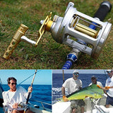 vissen Fishing Reels Level Wind Trolling Reel Conventional Jigging Reel 1000-5000 for Saltwater Big Game Fishing (A-Silver-Gold, TA3000) - kayakmodify
