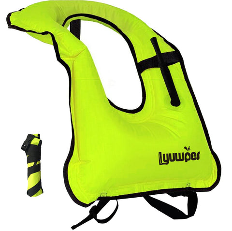 Lyuwpes Inflatable Snorkel Vest Adult Snorkeling Jackets Free Diving Swimming Safety Load Up to 220 Ibs Green - kayakmodify