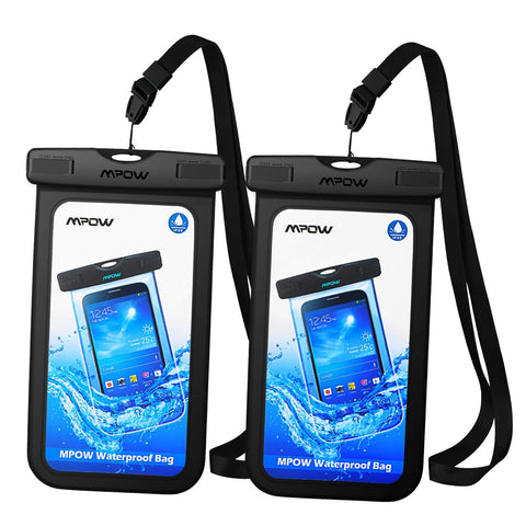 Mpow Universal Waterproof Case, IPX8 Waterproof Phone Pouch Dry Bag Compatible for Iphone XS Max/XS/XR/X/8/8Plus/7/7Plus/6S/6/6S Plus Galaxy S9/S8/S7 Note 9/8 Google Pixel HTC12 (Black+Black 2-Pack) - kayakmodify