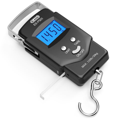 [Backlit LCD Display] Dr.meter PS01 110lb/50kg Electronic Balance Digital Fishing Postal Hanging Hook Scale with Measuring Tape, 2 AAA Batteries Included - kayakmodify