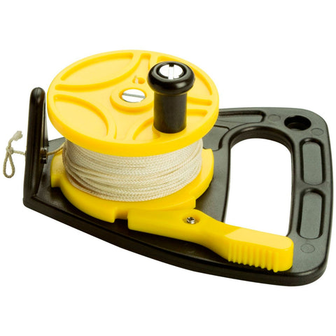 Scuba Max 150 foot Dive Reel Yellow with thumb stopper - kayakmodify
