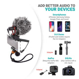 Movo VXR10 Universal Video Microphone with Shock Mount, Deadcat Windscreen, Case for iPhone, Android Smartphones, Canon EOS, Nikon DSLR Cameras and Camcorders - kayakmodify