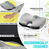 Seat Cushion Memory Foam - With Orthopedic Design To Relieve Coccyx, Sciatica And Tailbone Pain From Prolonged Sitting In The Car, Office Or Kitchen Chairs - kayakmodify