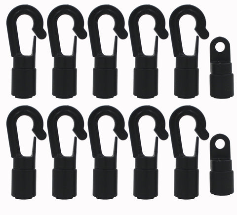 "YYST 10 Pcs Bungee/Shock Cord Hook Fixed End Tabbed S Hooks for 1/4"" (6MM) Bungee to Use on Kayaks (Bendy 10 Pcs) - kayakmodify"