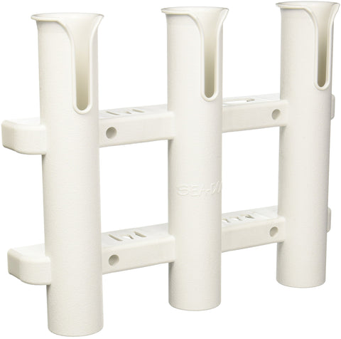 Sea Dog 325038-1 Three Pole Side-Mount Rod Holder, White - kayakmodify
