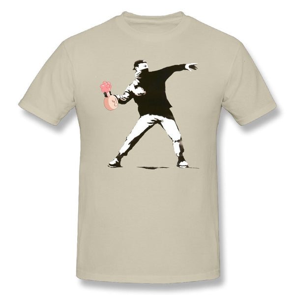 T Shirt Banksy W Plumbus Rick Morty Funny Tees Adult Round Neck Clothing Short Sleeve T-Shirt 100% Cotton High Quality