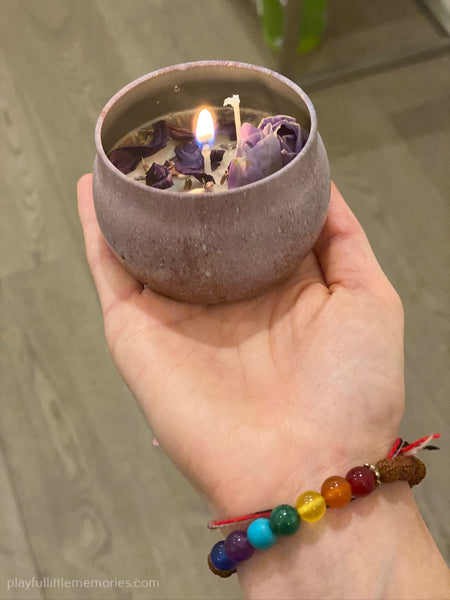 Homemade Flower, Crystal And Essential Oil Candles