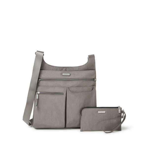 Baggalini On Track Zip Crossbody Sterling Shimmer