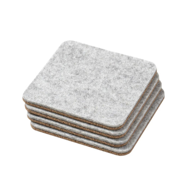 Oakywood Set of 4 Felt & Cork Coasters Grey
