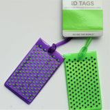 Conair Jelly Luggage Tags Purple/Green Dots