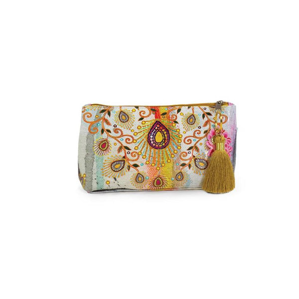 Papaya Small Tasseled Pouch Moroccan Peacock