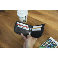 Travelon RFID Blocking Leather Front Pocket Wallet Lifestyle View