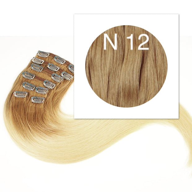 Clips 7 part Colors LIGHT BROWN - GVA hair