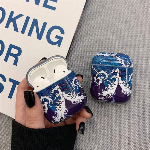 The Great Wave off Kanagawa Ukiyo-e Hard Protective Shockproof Case For Apple Airpods 1 & 2 - Techypop.com