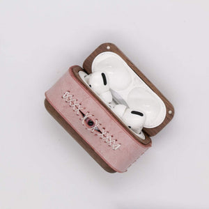 Techypop.com AirPods Case Stitched Eye Leather Dark Wooden Protective Case For Apple Airpods 1 & 2 & Pro