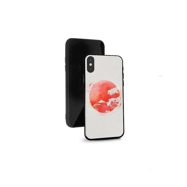 Techypop iPhone Case iPhone 12 Mini Ukiyo-e Fuji and Great Wave Tempered Glass Designer iPhone Case