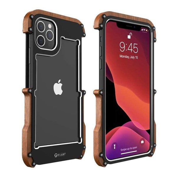 2020 NEW Wooden + Metal Frame Ultimate Shockproof Protective Designer iPhone Case For iPhone SE 11 Pro Max X XS Max XR 7 8 Plus - techypopcom