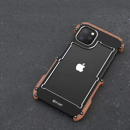 Metal Wooden Frame Shockproof Protective Designer iPhone Case For iPhone SE 11 Pro Max X XS Max XR 7 8 Plus - techypopcom