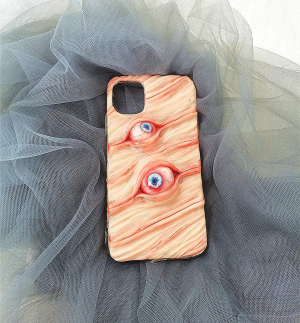 Techypop iPhone Case iPhone SE (2nd Gen) Two Eyes in the Skin Handmade Designer iPhone Case For iPhone SE 11 Pro Max X XS Max XR 7 8 Plus