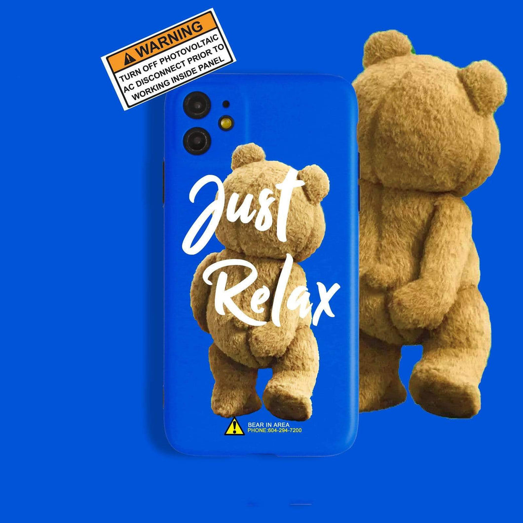 Just Relax Bear Silicone Shockproof Protective Designer iPhone Case For iPhone SE 11 Pro Max X XS Max XR 7 8 Plus - techypopcom