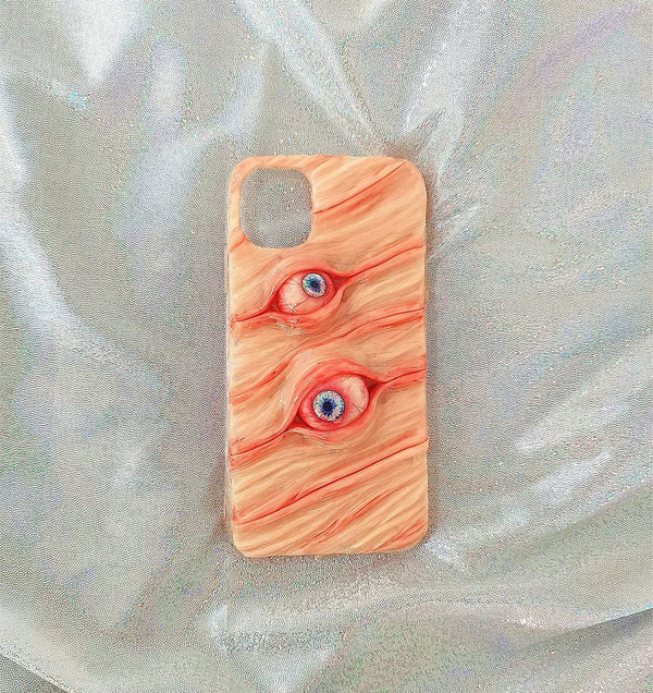 Techypop iPhone Case Two Eyes in the Skin Handmade Designer iPhone Case For iPhone SE 11 Pro Max X XS Max XR 7 8 Plus