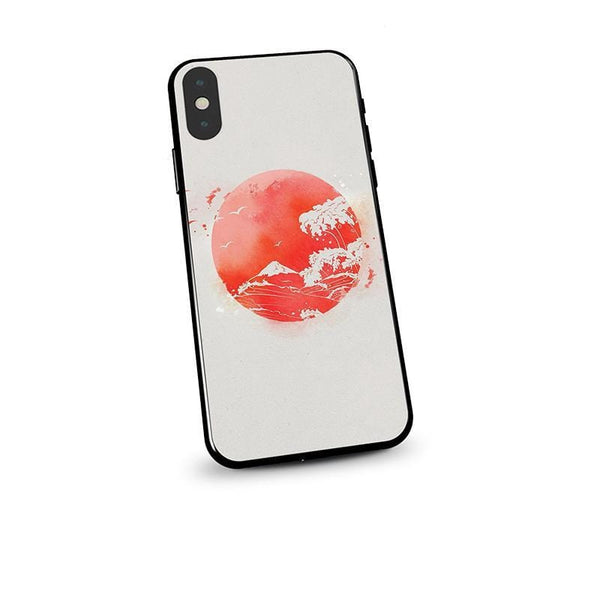 Techypop iPhone Case Ukiyo-e Fuji and Great Wave Tempered Glass Designer iPhone Case