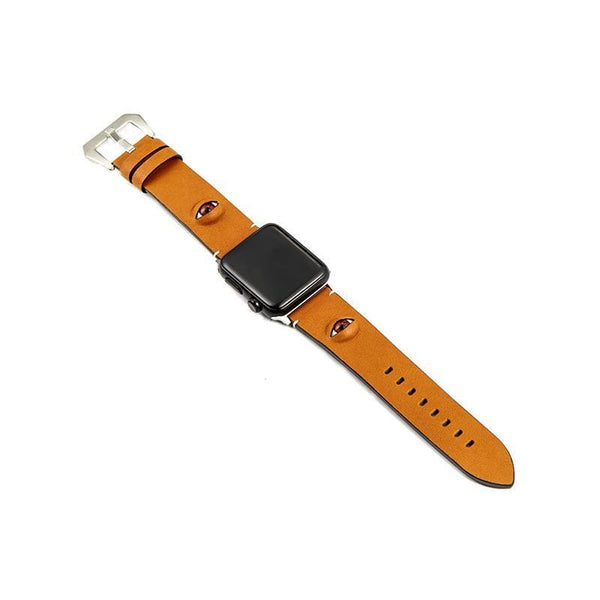 3D Eye Yellow Leather Compatible With Apple Watch Band Strap For iWatch Series 4/3/2/1 - techypopcom