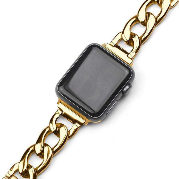 Rose Gold Stainless Steel Compatible With Apple Watch Metal Chain Band Strap For iWatch Series 4/3/2/1 - techypopcom