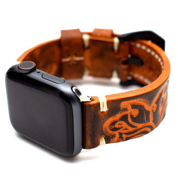 Vintage Handmade Leather Compatible With Apple Designer Watch Band Strap For iWatch Series 4/3/2/1 - techypopcom