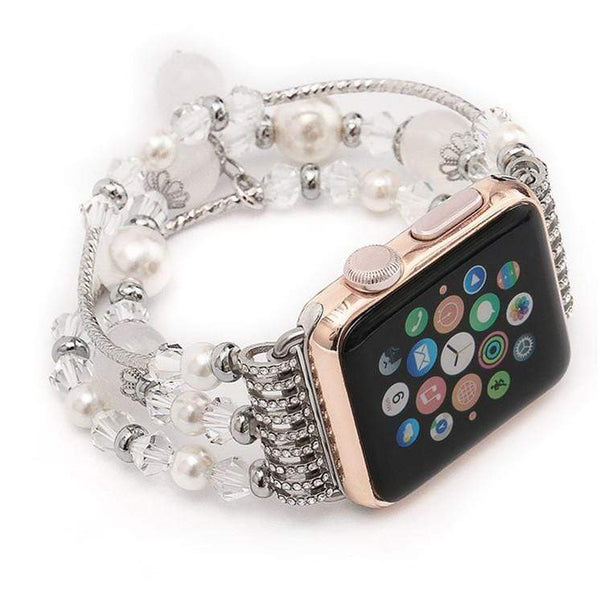 Rose Gold Jewelry Stretchable Compatible With Apple Watch Band Strap For iWatch Series 4/3/2/1 - techypopcom