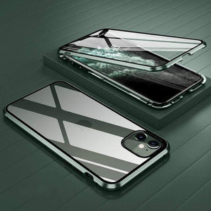 techypopcom iPhone Case 2020 Aluminum + Titanium Shockproof Gorilla Double Tempered Glass Case for iPhone 12 SE 11 Pro Max Xs Max Xs Xr X