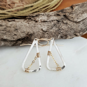 Hammered Mixed Metal Earrings | 14k Gold Fill | Sterling Silver