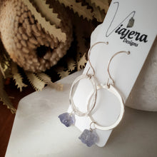 Load image into Gallery viewer, Drop Circle Earrings | Iolite | Sterling Silver