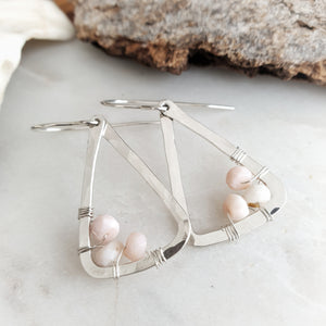 Hammered Geometric Earrings | Pink Opal | Sterling Silver