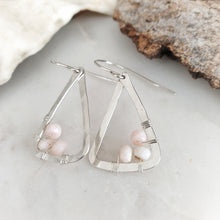 Load image into Gallery viewer, Hammered Geometric Earrings | Pink Opal | Sterling Silver