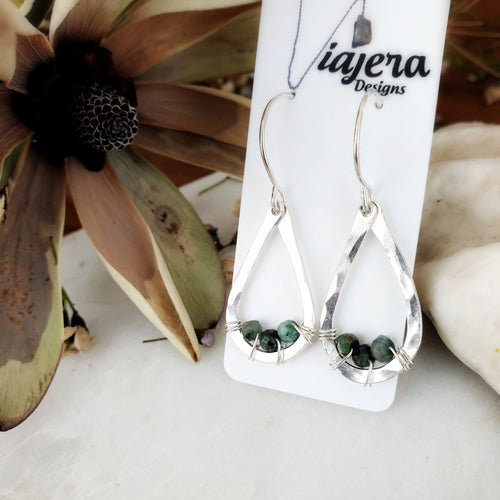 Teardrop Earrings | Emerald | Sterling Silver