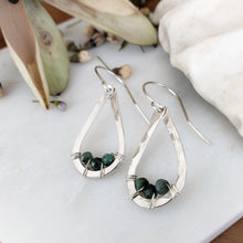 Load image into Gallery viewer, Teardrop Earrings | Emerald | Sterling Silver