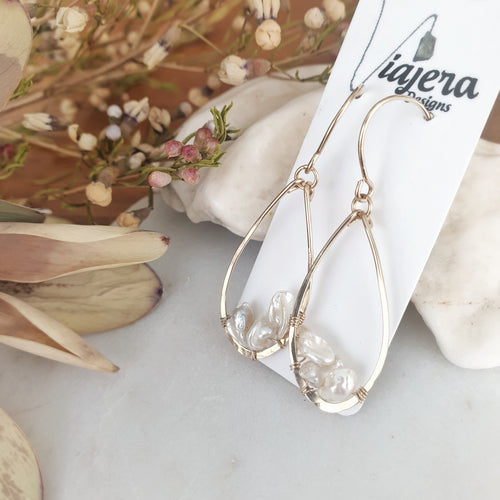 Teardrop Earrings | Keishi Pearls | 14k Gold Fill