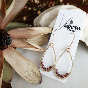 Teardrop Earrings | Garnet | 14k Gold Fill