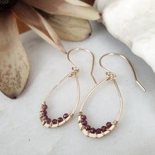 Load image into Gallery viewer, Teardrop Earrings | Garnet | 14k Gold Fill