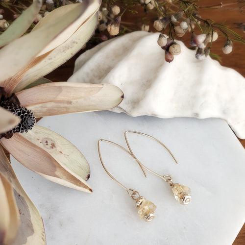 Statement Earrings | Citrine | Gold Filled