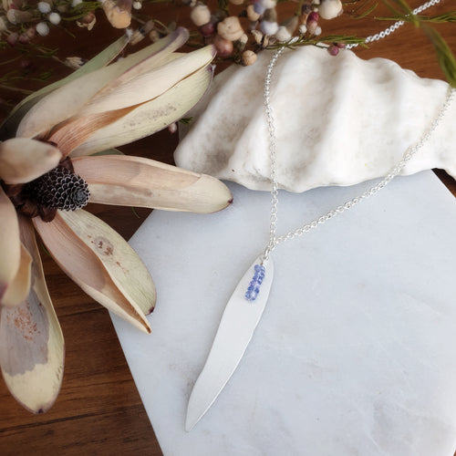 Botanical Leaf Necklace | Tanzanite | Sterling Silver