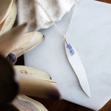 Load image into Gallery viewer, Long Gum Leaf Earrings | Tanzanite | Sterling Silver