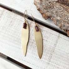 Load image into Gallery viewer, Gum Leaf Earrings | Ruby | Gold Fill | Brass